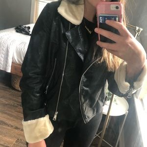 NWT Vigoss Nordstrom Faux Leather and Fur Jacket L